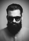 Portrait of brutal hipster wearing sunglasses Royalty Free Stock Photo