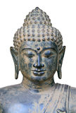 Portrait of Buddha. Authentic ancient bronze statue of Buddha. Statue was found in East Java, Indonesia. Isolated with clipping path Royalty Free Stock Photography