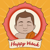 Portrait of Buddha with Commemorating Vesak Ribbon, Vector Illustration Stock Image