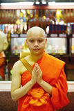 Portrait of buddhist monk in temble in Bangkok, Thailand, Asian Stock Photo
