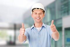 Portrait of a builder in white helmet Stock Photo