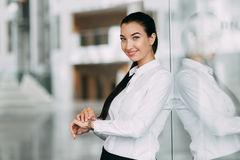 Portrait buisness women. Portrait of a beautiful successful girl, business woman, young with long hair Stock Photo