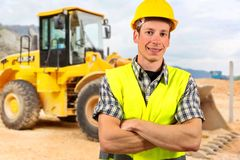 Portrait of a bulldozer driver Royalty Free Stock Photo