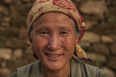 Portrait. BUPSA, NEPAL - CIRCA OCTOBER 2013: Nepalese woman circa October 2013 in Bupsa Royalty Free Stock Photo
