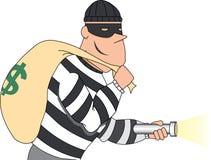 Portrait of Burglar holding bag of money Royalty Free Stock Photography