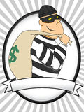 Portrait of Burglar holding bag of money Stock Photography
