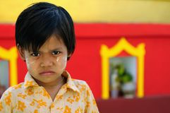 Portrait of the Burmese child relating to Buddhist temples in Burma Stock Photos