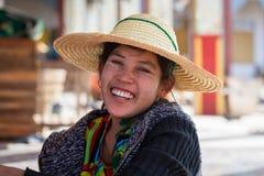 Portrait burmese girl in local market. Inle lake, Myanmar, Burma Royalty Free Stock Images