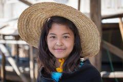 Portrait burmese girl in local market. Inle lake, Myanmar, Burma Stock Image