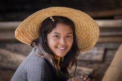 Portrait burmese girl in local market. Inle lake, Myanmar, Burma Royalty Free Stock Photos