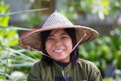 Portrait burmese girl in local market. Ngapali, Myanmar, Burma Royalty Free Stock Photos