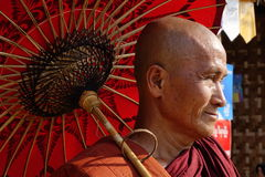 Portrait of Burmese old monk Royalty Free Stock Image