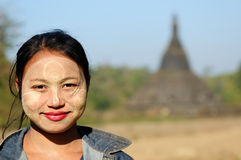 Portrait of the Burmese woman relating to Buddhist temples in Burma Royalty Free Stock Photo