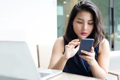 Portrait business asian woman use technology behavior royalty free stock photography