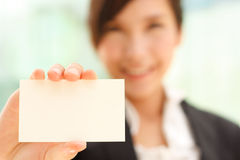 Portrait with business card Royalty Free Stock Photography