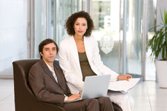 Portrait of business executives working on laptop.  Stock Photo