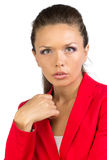 Portrait of business lady in red jacket Royalty Free Stock Photos