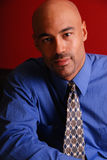 Portrait of a business man. Portrait of an hansom mixed race business man, wearing a blue shirt and tie stock photo