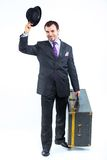 Portrait of a  business man with big old suitcase Stock Image