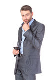 Portrait of business man with glass wine Royalty Free Stock Image