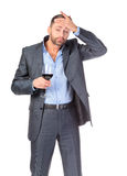 Portrait of business man with glass wine Royalty Free Stock Photography