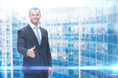Portrait of business man handshaking Royalty Free Stock Images