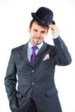 Portrait of a business man with hat Stock Photography