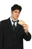 Portrait of a business man holding cash Stock Images