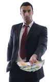 Portrait of a business man holding and catch falli Royalty Free Stock Image