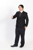 Portrait business man holding his thumbs up overwhite background Royalty Free Stock Photos