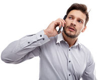 Portrait of business man with mobile phone Royalty Free Stock Photos