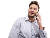 Portrait of business man with mobile phone Stock Photos
