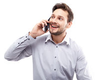 Portrait of business man with mobile phone Royalty Free Stock Photography