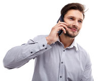 Portrait of business man with mobile phone Royalty Free Stock Images