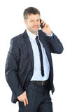 Portrait of a business man with phone Royalty Free Stock Photos