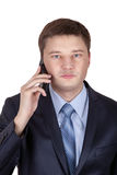 Portrait of a business man with phone isolated Stock Photos