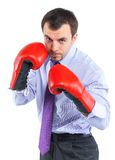 Portrait of a  business man in red boxing gloves Royalty Free Stock Photo