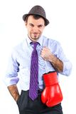 Portrait of a  business man in red boxing gloves Stock Image