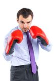 Portrait of a  business man in red boxing gloves Royalty Free Stock Images