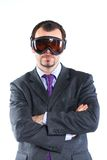 Portrait of a  business man in ski goggles Royalty Free Stock Photos