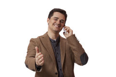 Portrait of business man using cellphone on white background.  royalty free stock images
