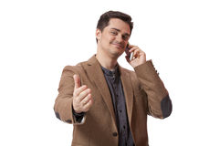 Portrait of business man using cellphone on white background Stock Image