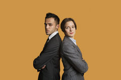 Portrait of a business partners standing back to back with arms crossed Royalty Free Stock Photo