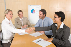 Portrait of business people discussing new strateg Stock Photos
