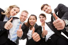 Portrait Of Business People Gesturing Thumbs Up Royalty Free Stock Photography