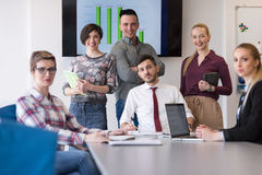 Portrait of business people group at modern office meeting room Royalty Free Stock Images