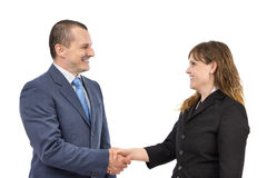 Portrait of business people shaking hands. Portrait of successful business people shaking hands on a deal on a white background Royalty Free Stock Image