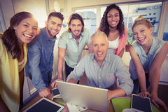 Portrait of business people using technologies Royalty Free Stock Photos