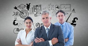 Portrait of business people with various icons against gray background Stock Photos