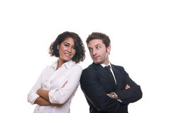 Portrait of a business team. Isolated on a white background stock photos